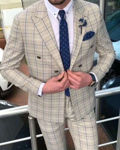 Beige Slim Fit Plaid Double Breasted Suit by GentWith.com