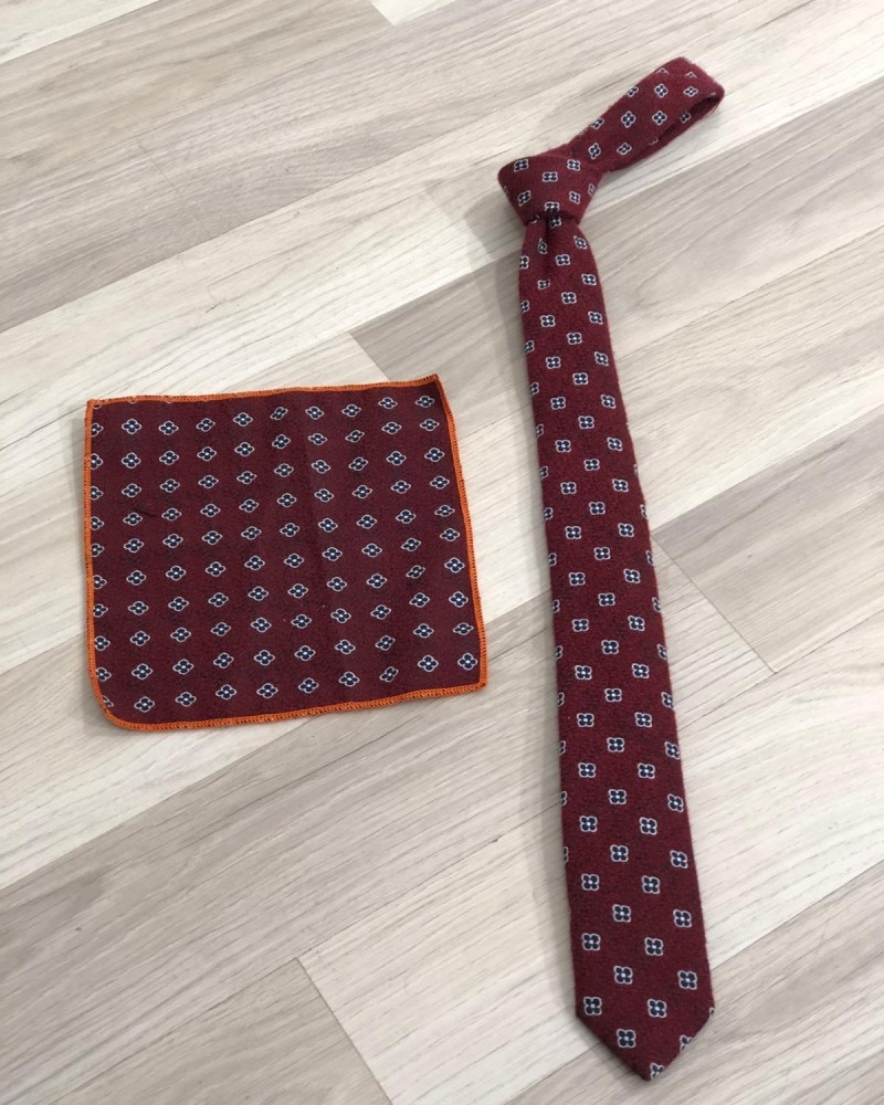 Red Floral Skinny Tie by GentWith.com with Free Shipping