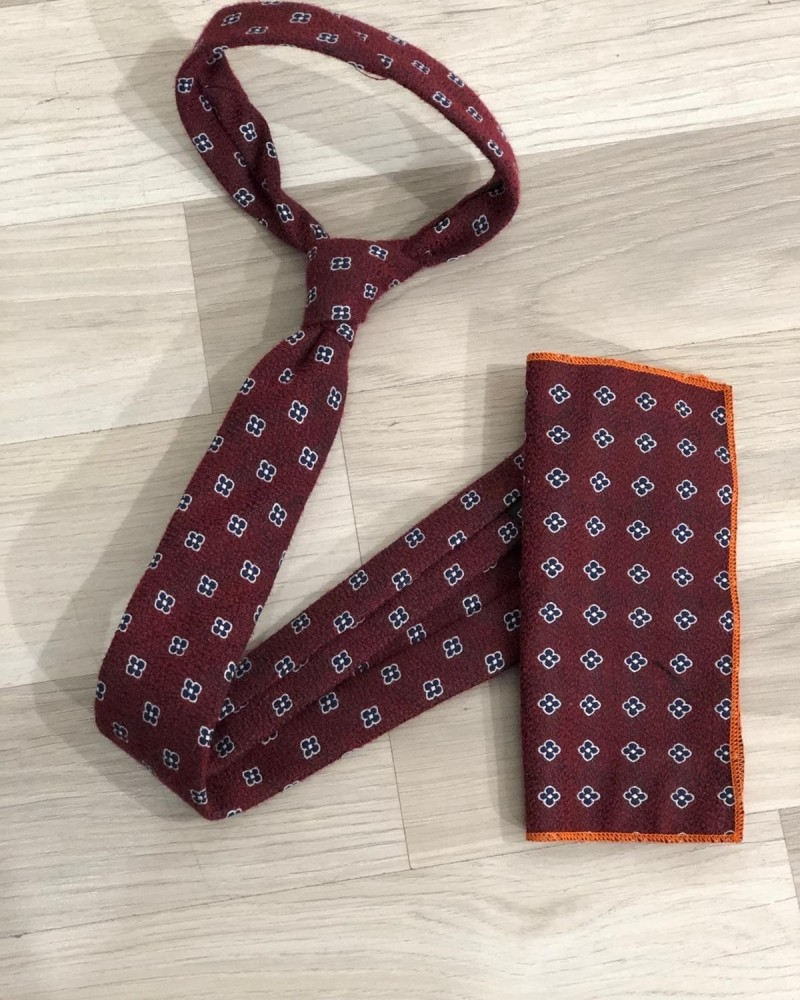 Claret Red Floral Skinny Tie by GentWith.com with Free Shipping