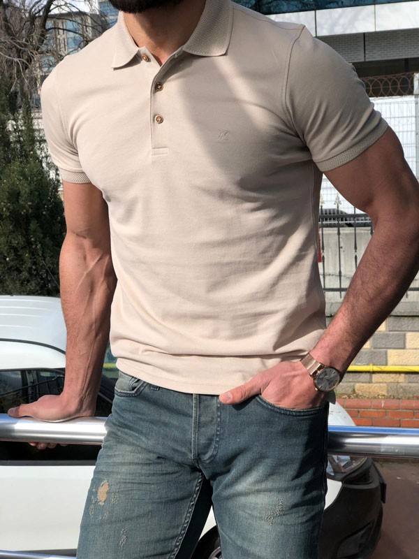 Beige Slim Fit Polo T-Shirt by GentWith.com with Free Shipping