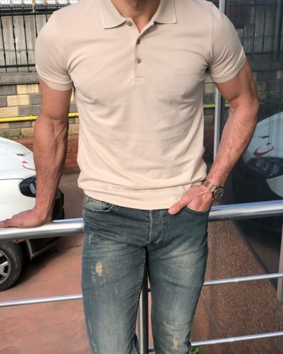 Slim Fit Beige Polo Shirt by GentWith.com with Free Shipping