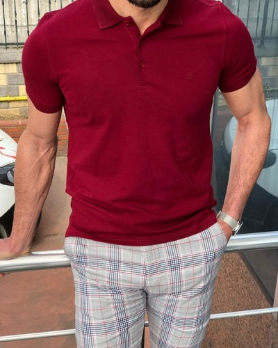 Burgundy Slim Fit Polo T-Shirt by GentWith.com with Free Shipping
