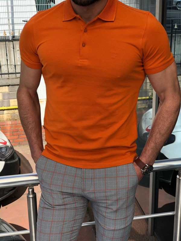 Orange Slim Fit Polo Shirt by GentWith.com with Free Shipping
