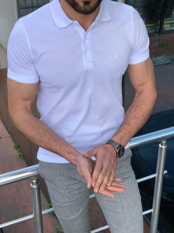 White Slim Fit Polo Shirt by GentWith.com with Free Shipping