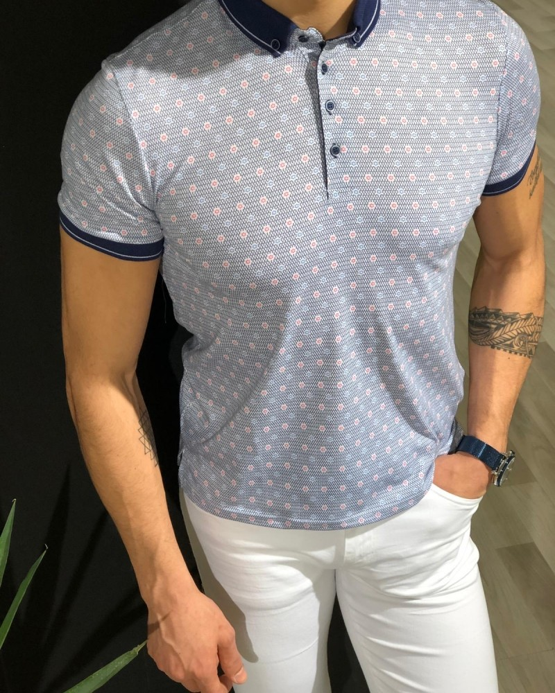 White Slim Fit Collar T-shirt by Gentwith.com with Free Shipping