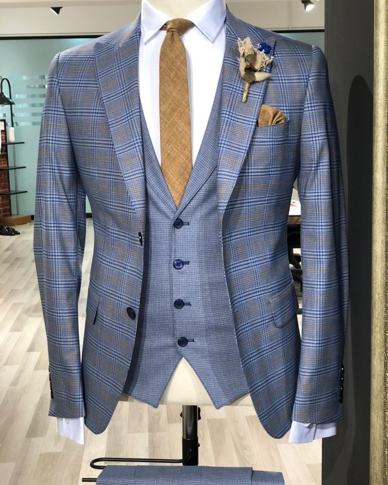 Indigo Slim Fit Plaid Suit by Gentwith.com with Free Shipping