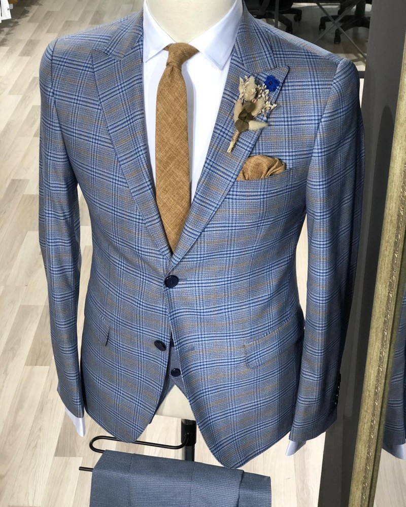 Indigo Plaid Suit by Gentwith.com with Free Shipping