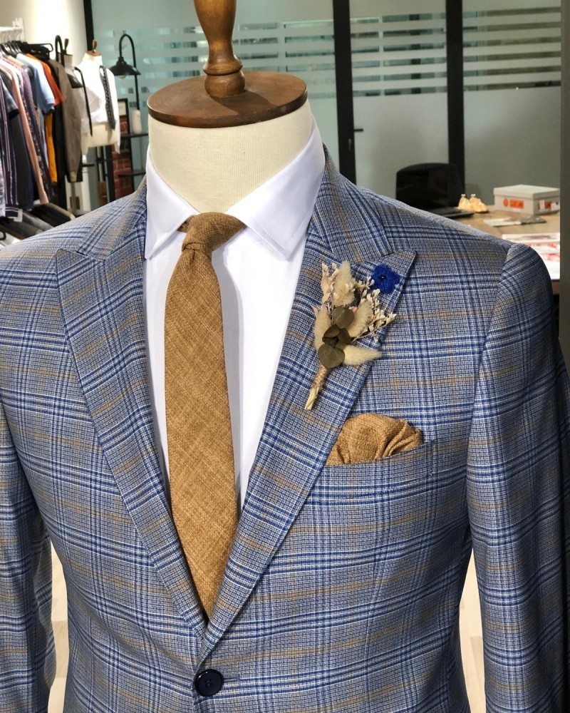 Indigo Men's Plaid Suit by Gentwith.com with Free Shipping