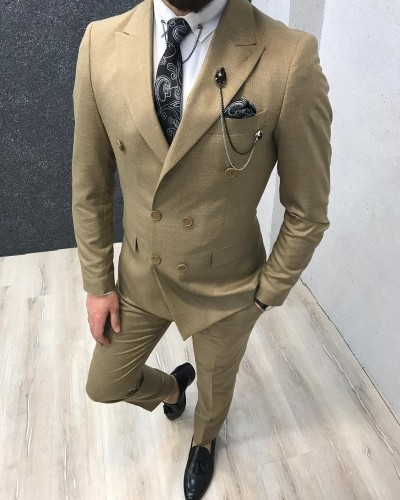 Golden Double Breasted Patterned Suit by Gentwith.com