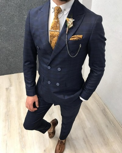 Navy Blue Double Breasted Plaid Suit by Gentwith.com