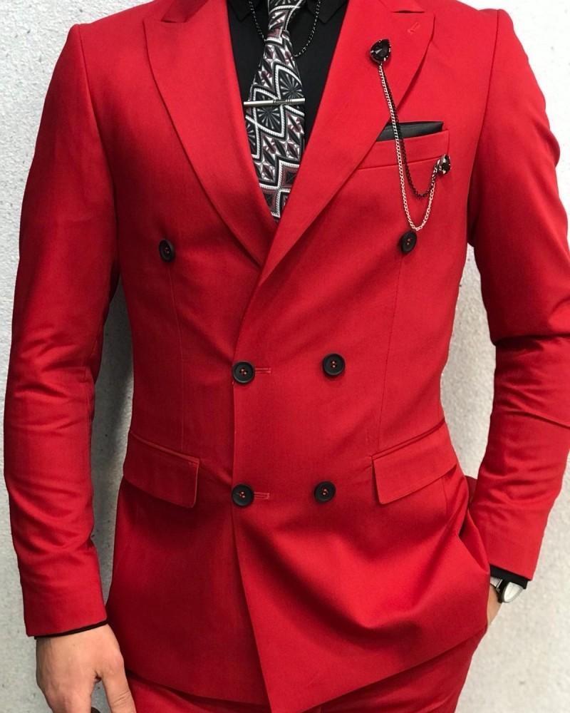 Buy Red Double Breasted Suit by Gentwith.com with Free Shipping