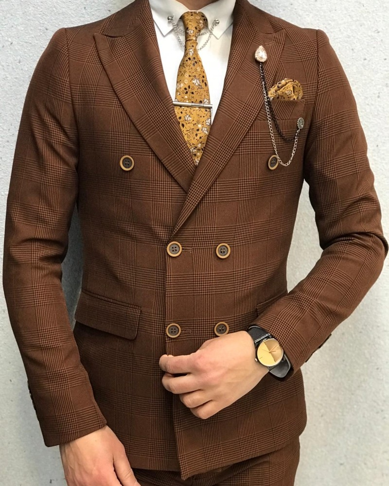 Tile Double Breasted Plaid Suit by Gentwith.com with Free Shipping