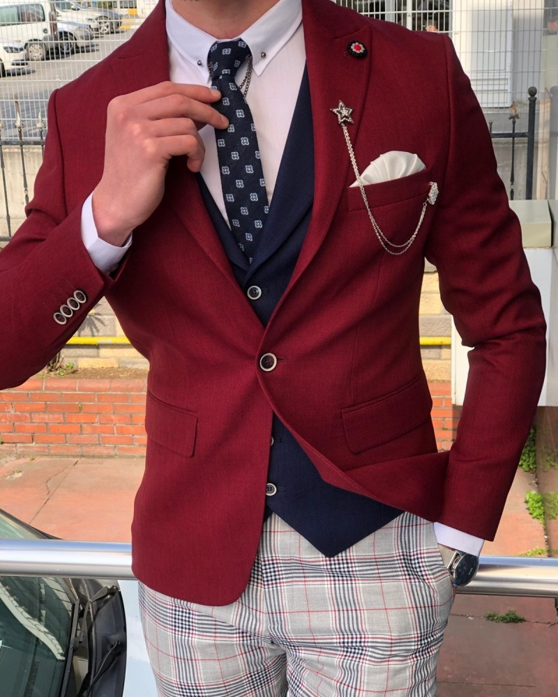 Claret Red Slim Fit Suit by GentWith.com with Free Shipping