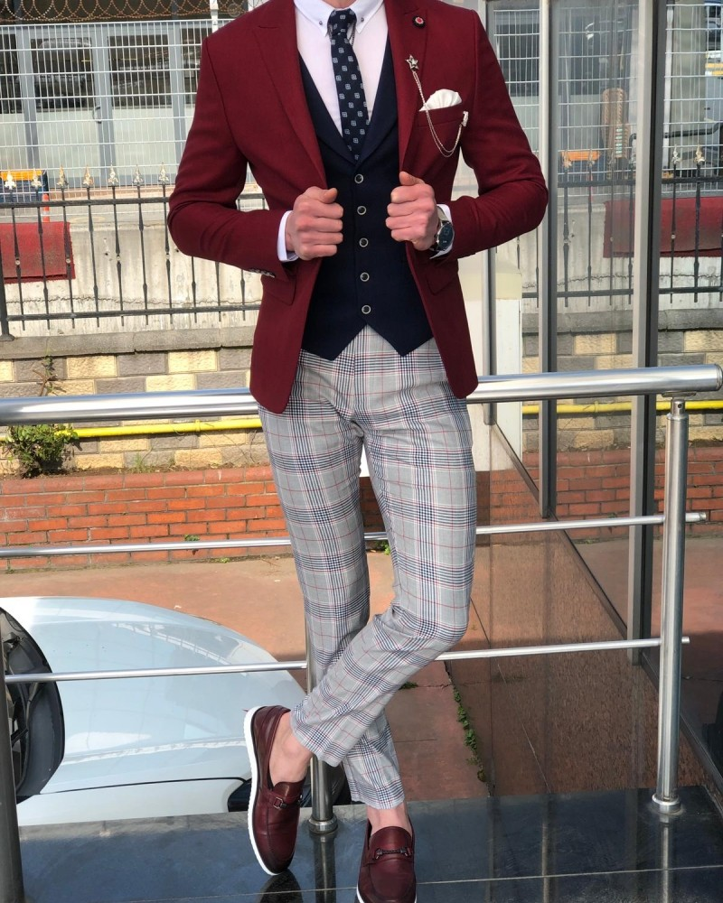 Claret Red Men's Suit by GentWith.com with Free Shipping