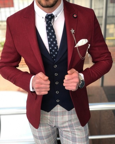 Claret Red Suit Men by GentWith.com with Free Shipping