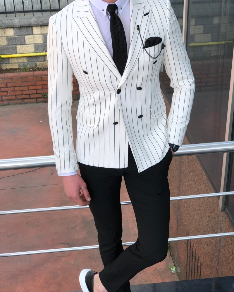 White Slim Fit Double Breasted Blazer by Gentwith.com