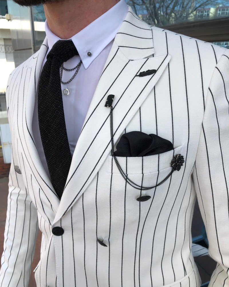White Double Breasted Blazer by Gentwith.com