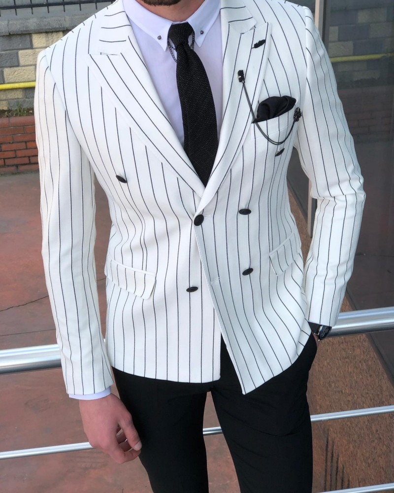 White Double Breasted Blazer Men by Gentwith.com