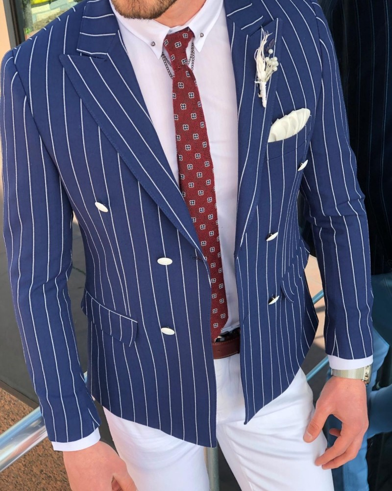 Navy Blue Slim Fit Double Breasted Blazer by Gentwith.com
