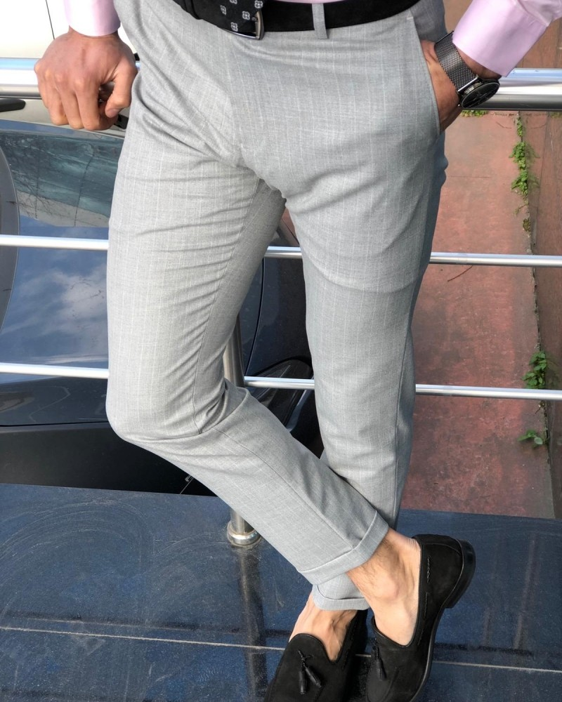 Gray Slim Fit Striped Pants by GentWith.com with Free Shipping