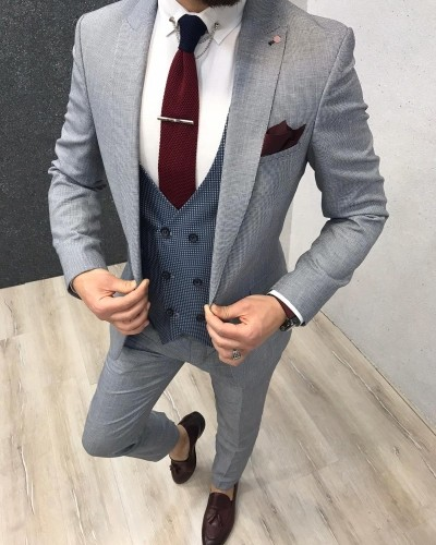 Men's Ice Blue Slim Fit Suit by Gentwith.com with Free Shipping