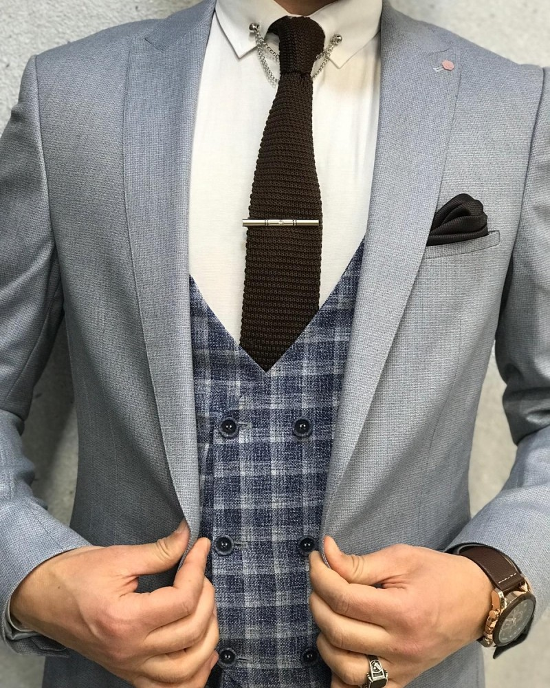 Slim Fit Light Navy Suit by Gentwith.com with Free Shipping