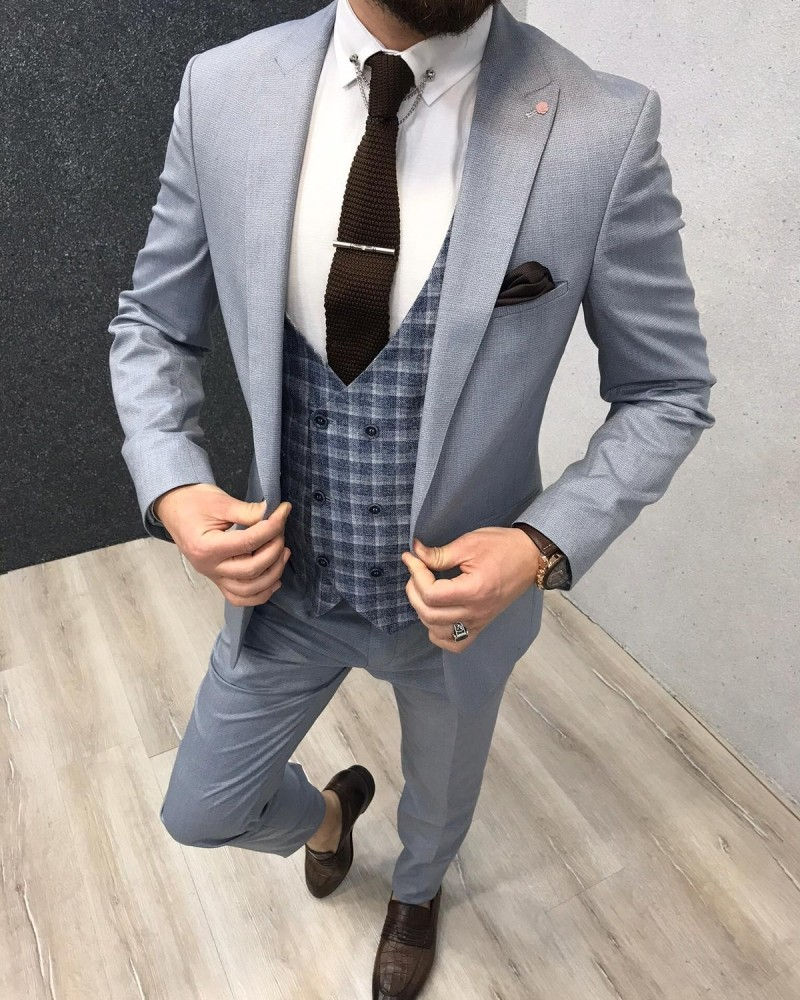 Light Navy Slim Fit Suit by Gentwith.com with Free Shipping