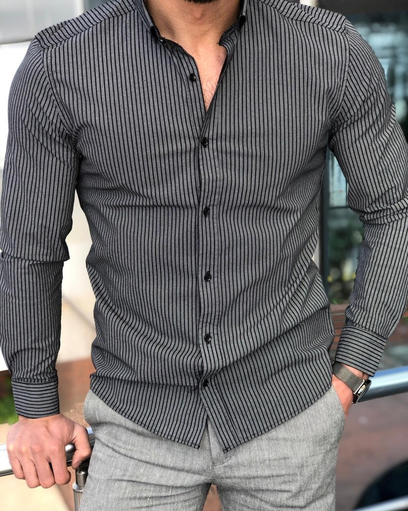 Black Slim Fit Striped Casual Shirt by GentWith.com | Free Shipping