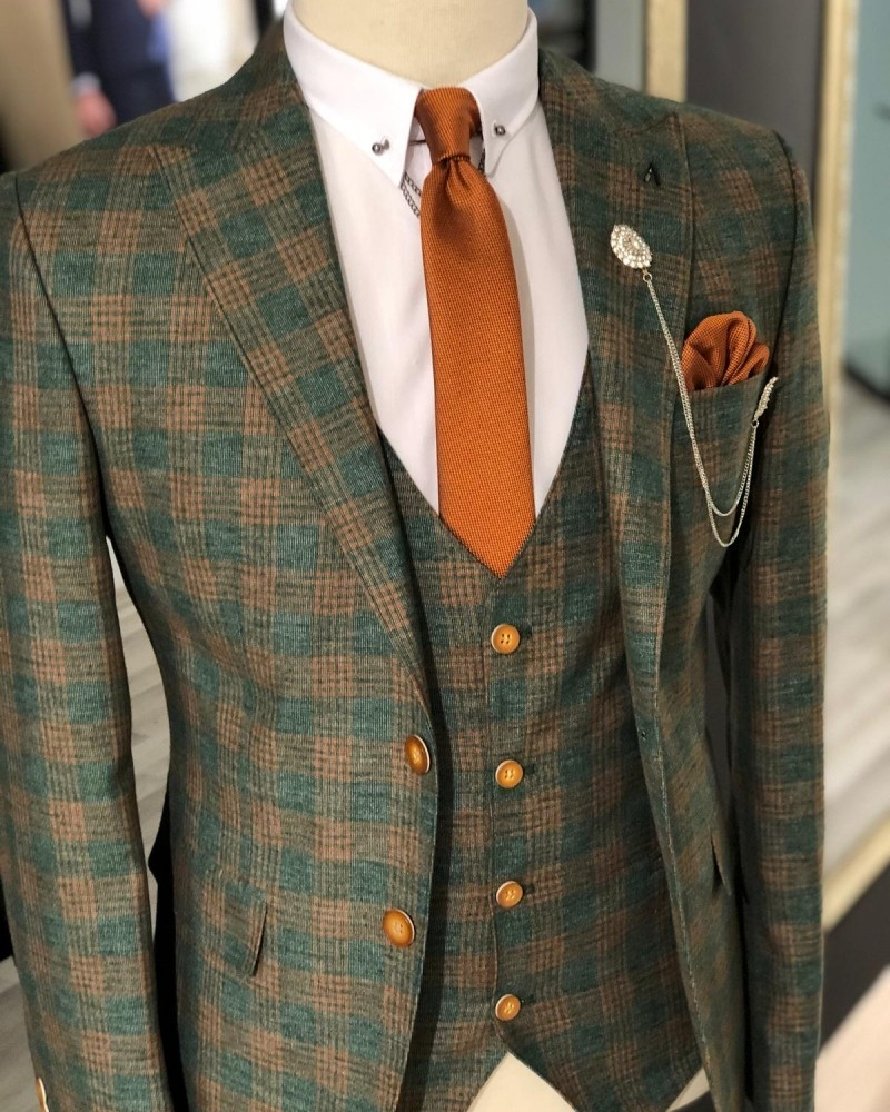 Khaki Slim Fit Plaid Suit by GentWith.com with Free Shipping