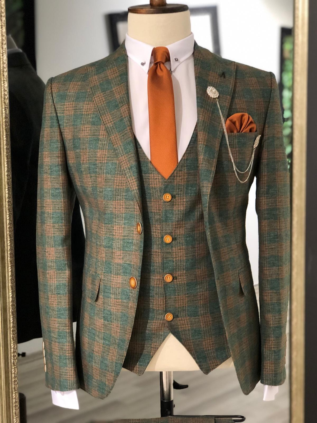 Khaki Slim Fit Plaid Suit Men by GentWith.com with Free Shipping
