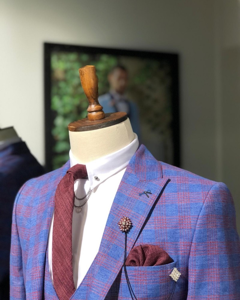 Slim Fit Plaid Suit Sax by GentWith.com with Free Shipping