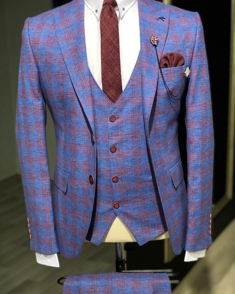 Sax Slim Fit Plaid Suit Men by GentWith.com with Free Shipping