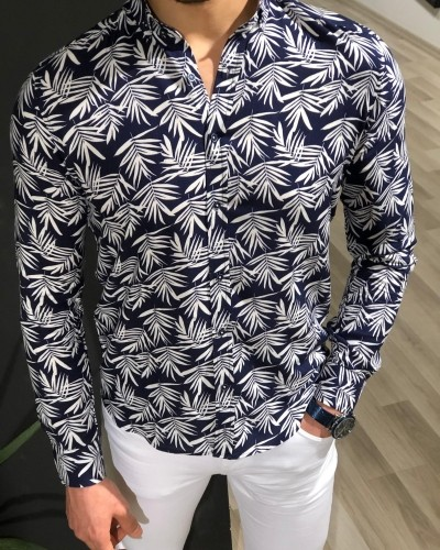 Navy Blue Palm Tree Pattern Shirt by Gentwith.com with Free Shipping