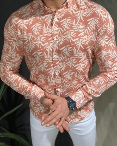 Powder Palm Tree Pattern Shirt by Gentwith.com with Free Shipping