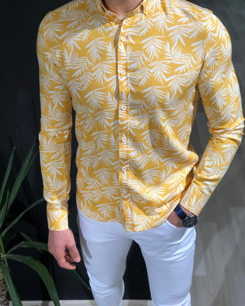 Yellow Palm Tree Pattern Shirt by Gentwith.com with Free Shipping