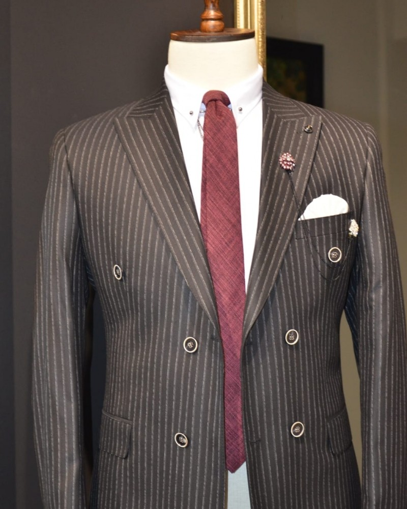 Black Double Breasted Striped Suit by GentWith.com | Free Shipping
