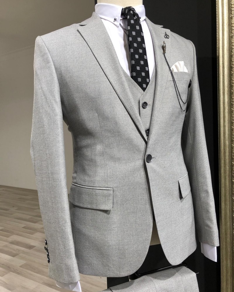 Men's Gray Slim Fit Suit by GentWith.com with Free Shipping