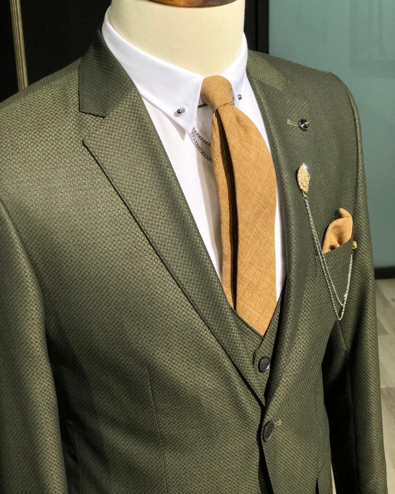 Khaki Slim Fit Suit Men by GentWith.com with Free Shipping