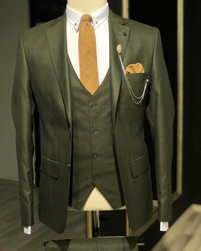 Khaki Slim Fit Suit by GentWith.com with Free Shipping