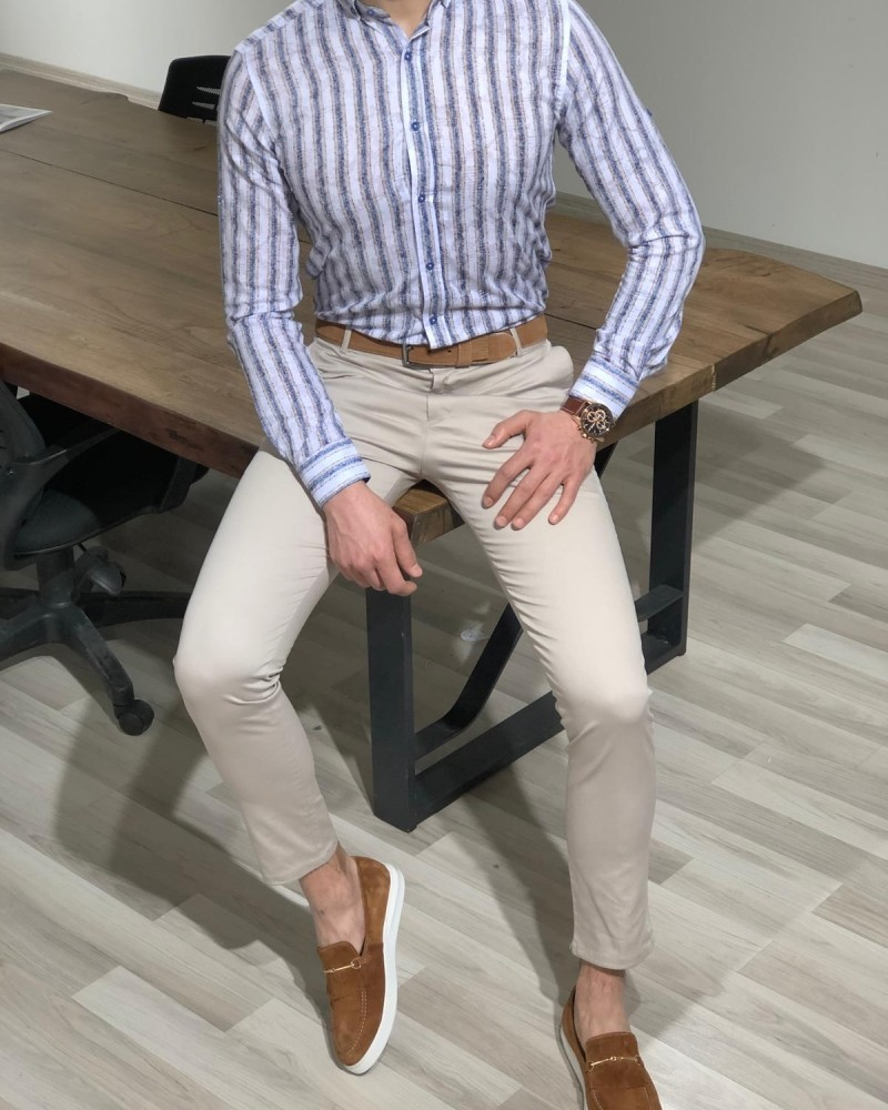 White Slim Fit Striped Shirt by Gentwith.com with Free Shipping