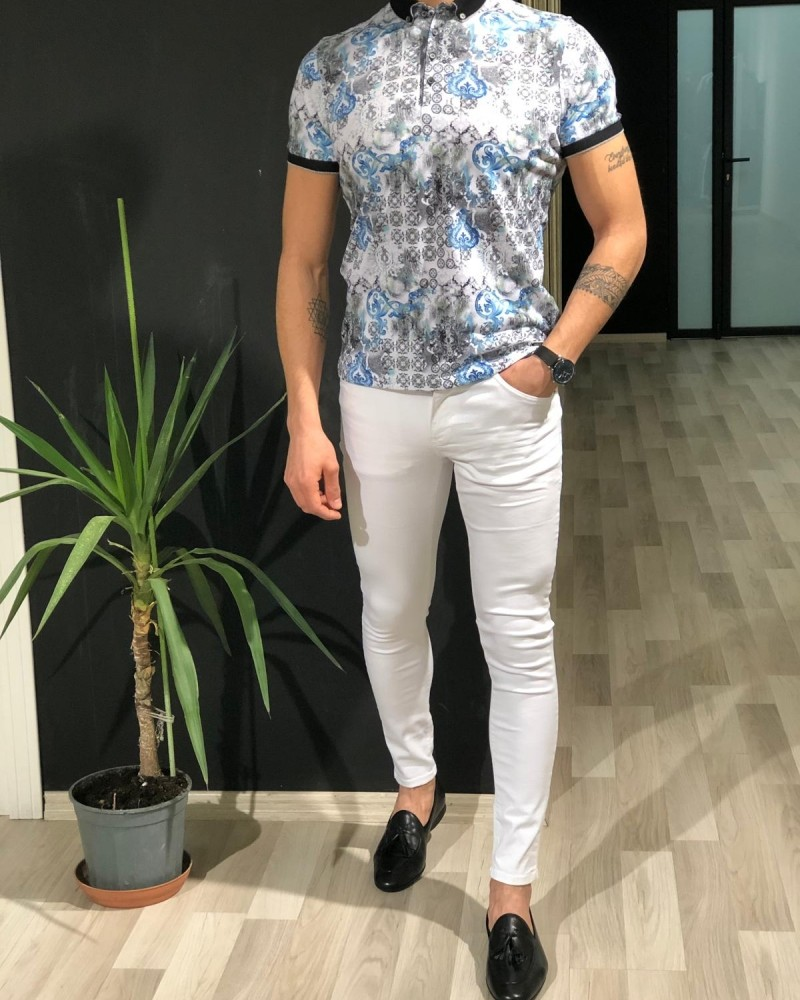 White Slim Fit T-shirt by Gentwith.com with Free Shipping