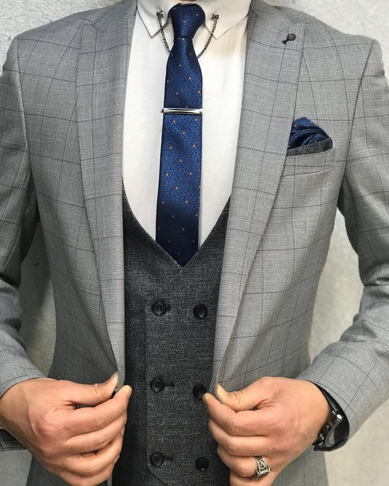Men's Gray Slim Fit Plaid Suit by Gentwith.com with Free Shipping