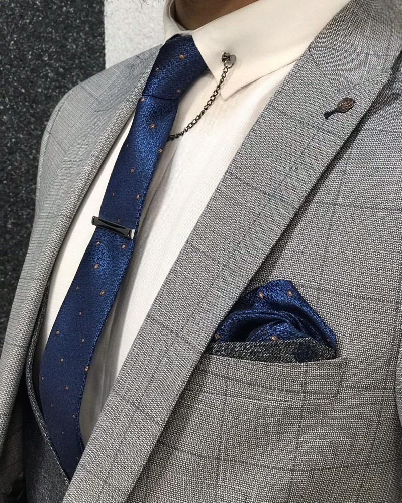 Slim Fit Plaid Gray Suit by Gentwith.com with Free Shipping