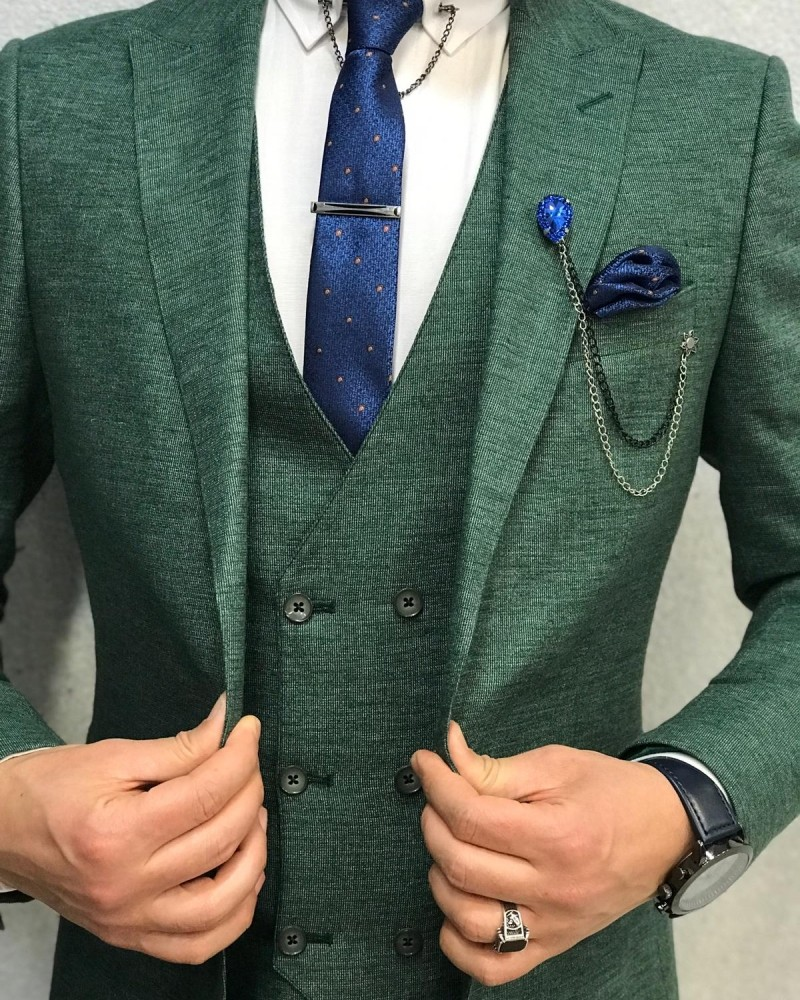 Men's Green Slim Fit Suit by Gentwith.com with Free Shipping