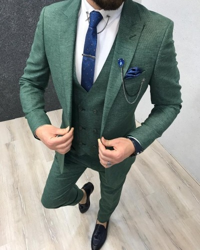 Green Slim Fit Suit by Gentwith.com with Free Shipping