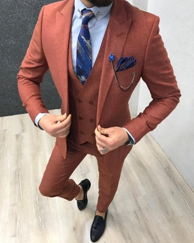 Orange Slim Fit Suit by Gentwith.com with Free Shipping