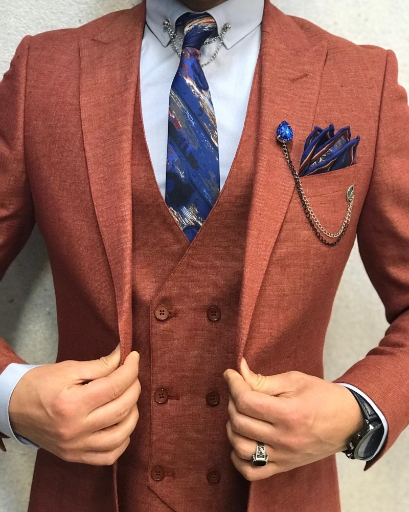 Slim Fit Orange Suit by Gentwith.com with Free Shipping