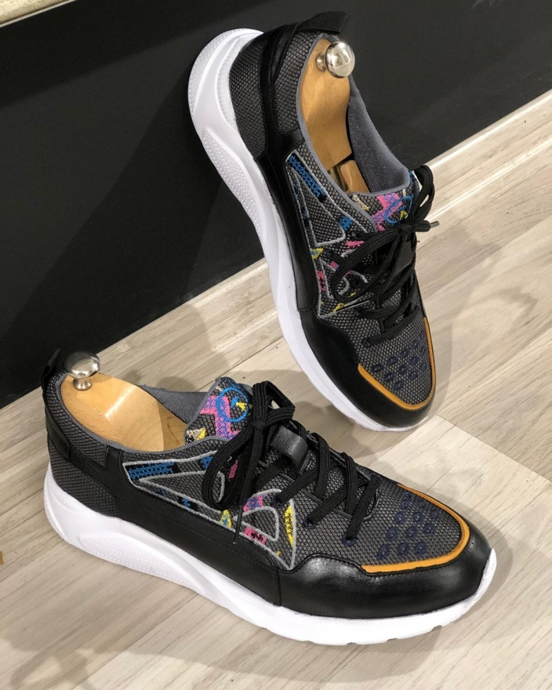 Black Laced Sneakers by Gentwith.com with Free Shipping
