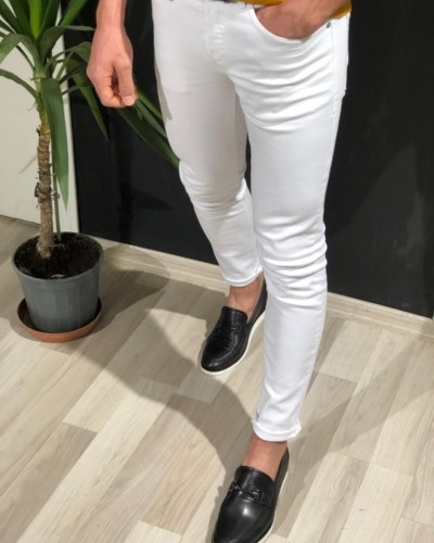 White Slim Fit Lycra Jeans by Gentwith.com with Free Shipping