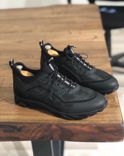 Black Lace Up Sneakers by Gentwith.com with Free Shipping